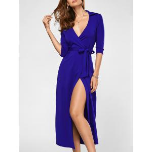 Surplice Tie Long Slit Wrap Evening Dress