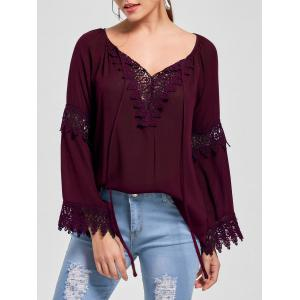 Flare Sleeve Lace Insert Bohemian Blouse