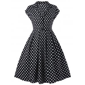 Notched Collar Polka Dot 50s Swing Dress