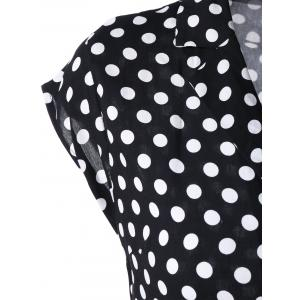 Notched Collar Polka Dot 50s Swing Dress -