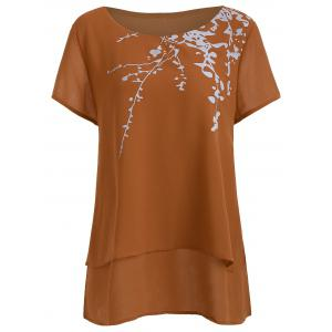 Plus Size Short Sleeve Printed Chiffon Top - Brown - 3xl