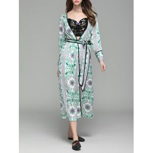 Flower Print Long Sleeve Maxi Cover Up