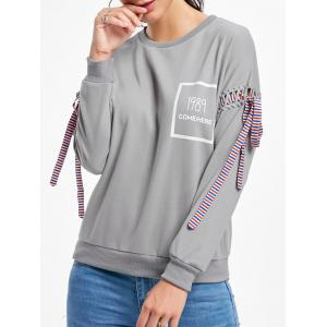 Long Sleeves Tie Print Sweatshirt