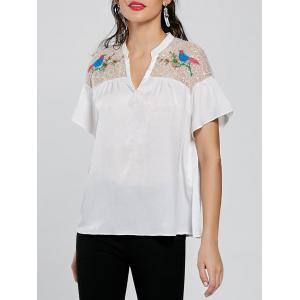 Embroidery Tulle Yoke Blouse - White - 2xl
