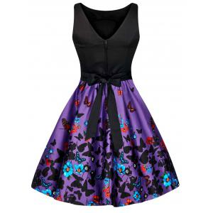 Floral Butterfly Print Bowknot Vintage Dress