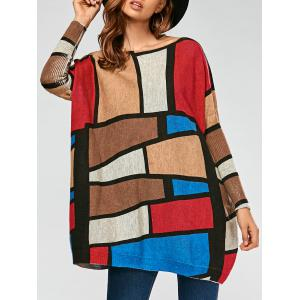 Pullover Color Lump Ribbed Drop Shoulder Sweater