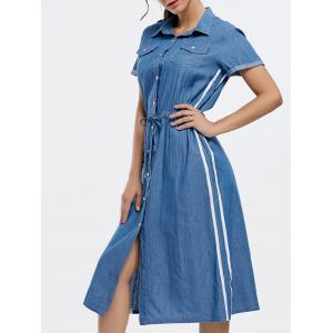 Drawstring Button Down Chambray Midi Dress