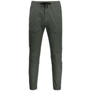 Men Drawstring Jogger Pants - Army Green - 32