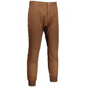 Casual Zip Fly Jogger Pants - Brun 38