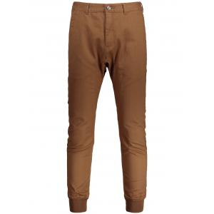 Casual Zip Fly Jogger Pants - Brown - 32