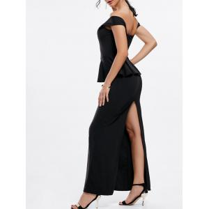 Sexy Boat Neck Black Peplum Dress For Women - BLACK M