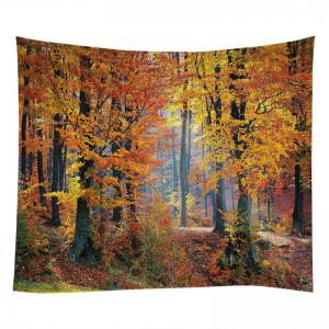 Maple Forest Print Tapestry Wall Hanging Art Decor - CITRUS W91 INCH * L71 INCH