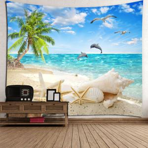 Coconut Palm Beach Seascape Waterproof Wall Tapestry -