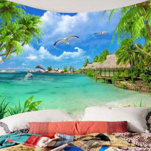 Beach Cottage Seascape Waterproof Tapestry -