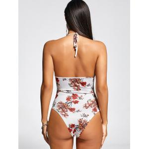 Lace Up Front One Piece Flower Swimsuit -