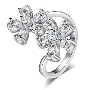 Rhinestone Double Floral Ring -