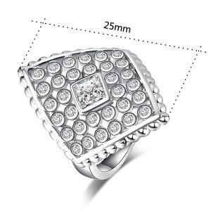 Bague rhombique en incrustation de diamant artificiel -