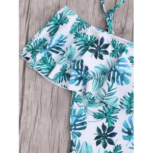 Plus Size Leaf Print Ruffle One Piece Swimsuit -