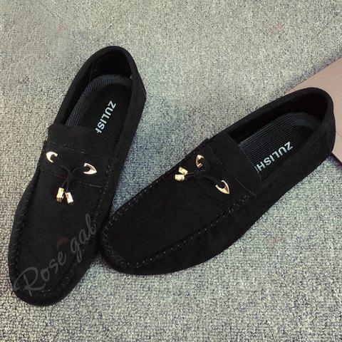Shops Pebbled Faux SuedeTie Moccasins - 40 BLACK Mobile