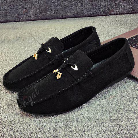 Outfits Pebbled Faux SuedeTie Moccasins - 40 BLACK Mobile