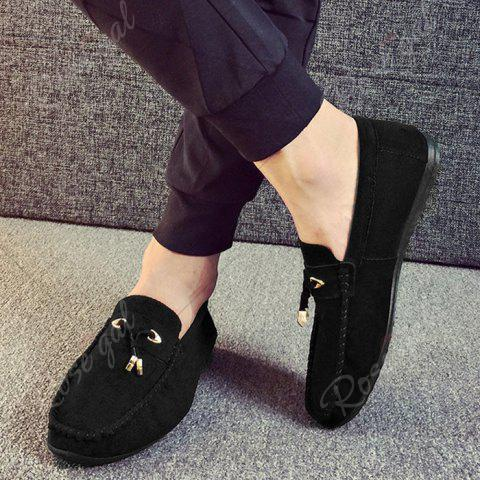 Shop Pebbled Faux SuedeTie Moccasins - 40 BLACK Mobile