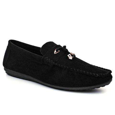 Pebbled Faux SuedeTie Moccasins - Black - 44