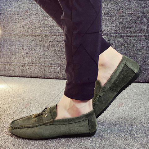 Sale Pebbled Faux SuedeTie Moccasins - 43 GREEN Mobile