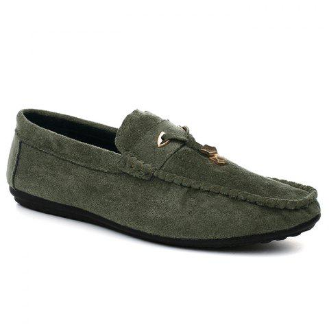 Trendy Pebbled Faux SuedeTie Moccasins - 43 GREEN Mobile