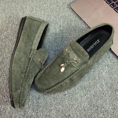 Discount Pebbled Faux SuedeTie Moccasins - 43 GREEN Mobile