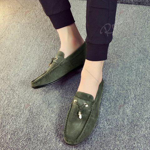 Online Pebbled Faux SuedeTie Moccasins - 43 GREEN Mobile