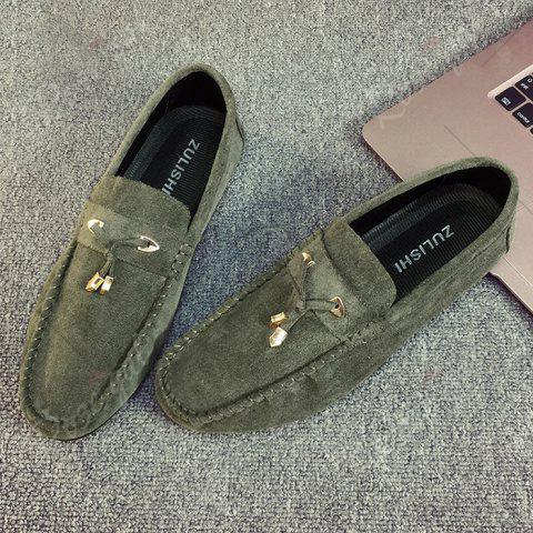 Affordable Pebbled Faux SuedeTie Moccasins - 43 GREEN Mobile