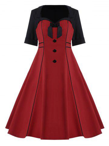Bowknot Embellished Plus Size Midi Pin Up Dress - Wine Red - 4xl