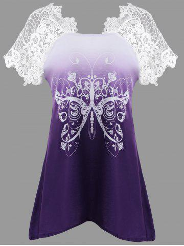 Butterfly Print Lace Insert Asymmetrical T-shirt - Purple - 2xl