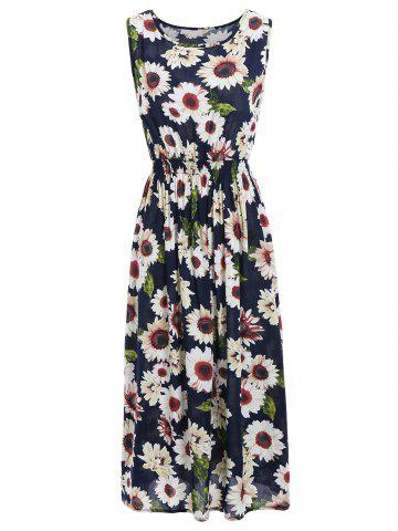 Affordable Sunflower Print Elastic Waist Sleeveless Maxi Dress - ONE SIZE COLORMIX Mobile