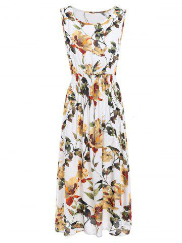 Unique Flower Leaf Elastic Waist Sleeveless Maxi Dress - ONE SIZE COLORMIX Mobile