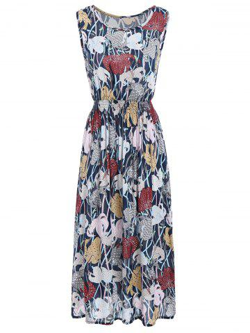 Best Flower Print Elastic Waist Sleeveless Maxi Dress - ONE SIZE COLORMIX Mobile