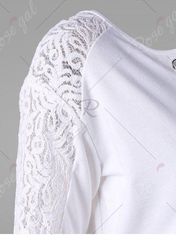 Outfit Long Sleeve Lace Insert T-shirt - 2XL WHITE Mobile