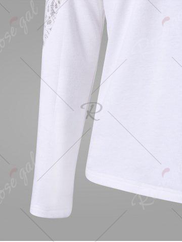Online Long Sleeve Lace Insert T-shirt - 2XL WHITE Mobile