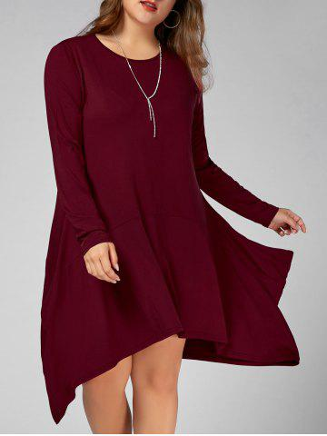 Long Sleeve Plus Size Asymmetric Tee Dress with Pockets - Wine Red - 3xl