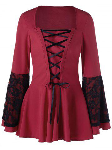 Outfit Lace Panel Lace Up Peplum Top RED XL