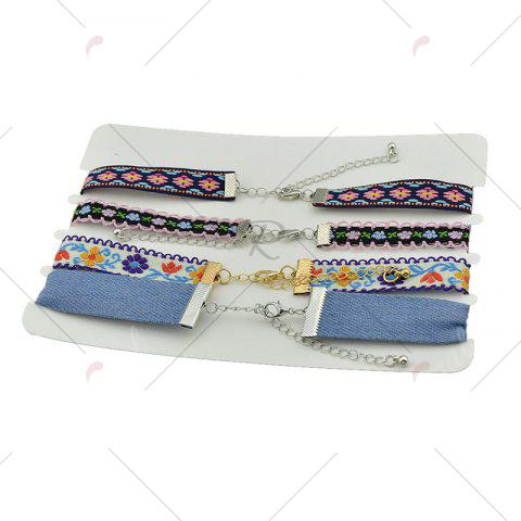 Latest Flower Embroidery Ethnic Choker Necklace Set - COLORMIX  Mobile
