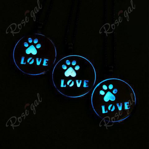 Fancy Glow in the Dark Claw Footprint Love Necklace - GOLDEN  Mobile