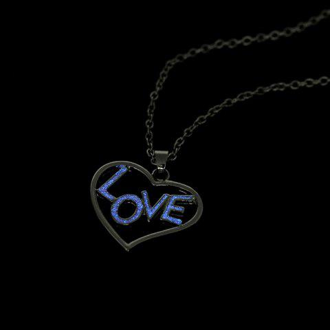 Hot Love Glow in the Dark Heart Necklace - SILVER  Mobile