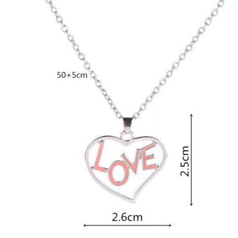 Online Love Glow in the Dark Heart Necklace - SILVER  Mobile