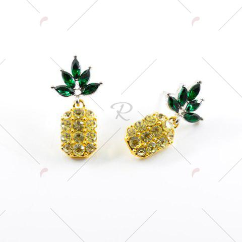 Online Rhinestone Pineapple Earring and Necklace Set - YELLOW  Mobile