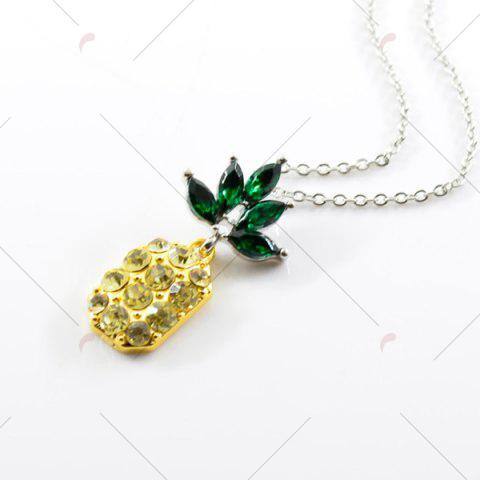 Hot Rhinestone Pineapple Earring and Necklace Set - YELLOW  Mobile