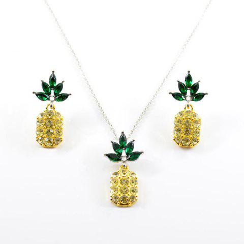 Buy Rhinestone Pineapple Earring and Necklace Set - YELLOW  Mobile