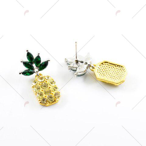 Latest Rhinestone Pineapple Earring and Necklace Set - YELLOW  Mobile