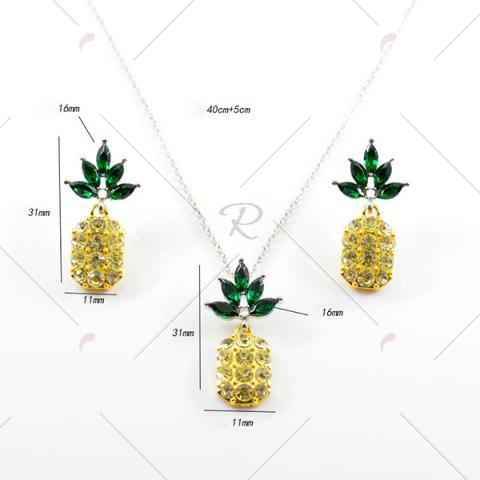 Affordable Rhinestone Pineapple Earring and Necklace Set - YELLOW  Mobile