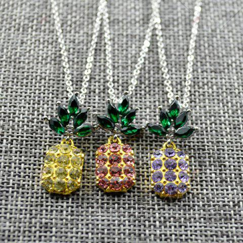 Affordable Rhinestone Pineapple Earring and Necklace Set - PINK  Mobile
